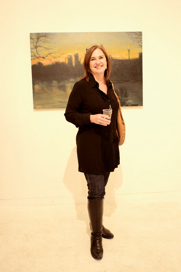 Black boots, black 'dinner shirt' dress, Luminous, Sheffer Gallery - 38 Lander street, Darlington