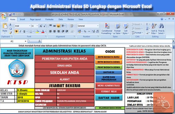 Aplikasi Administrasi Kelas SD Lengkap dengan Microsoft Excel