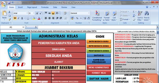 Aplikasi Administrasi Kelas Sd Lengkap Dengan Microsoft Excel Sisi Edukasi File