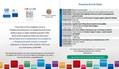 Imagen del Foro para la implementación de una plataforma e-Paraguay el 27 de abril de 2012