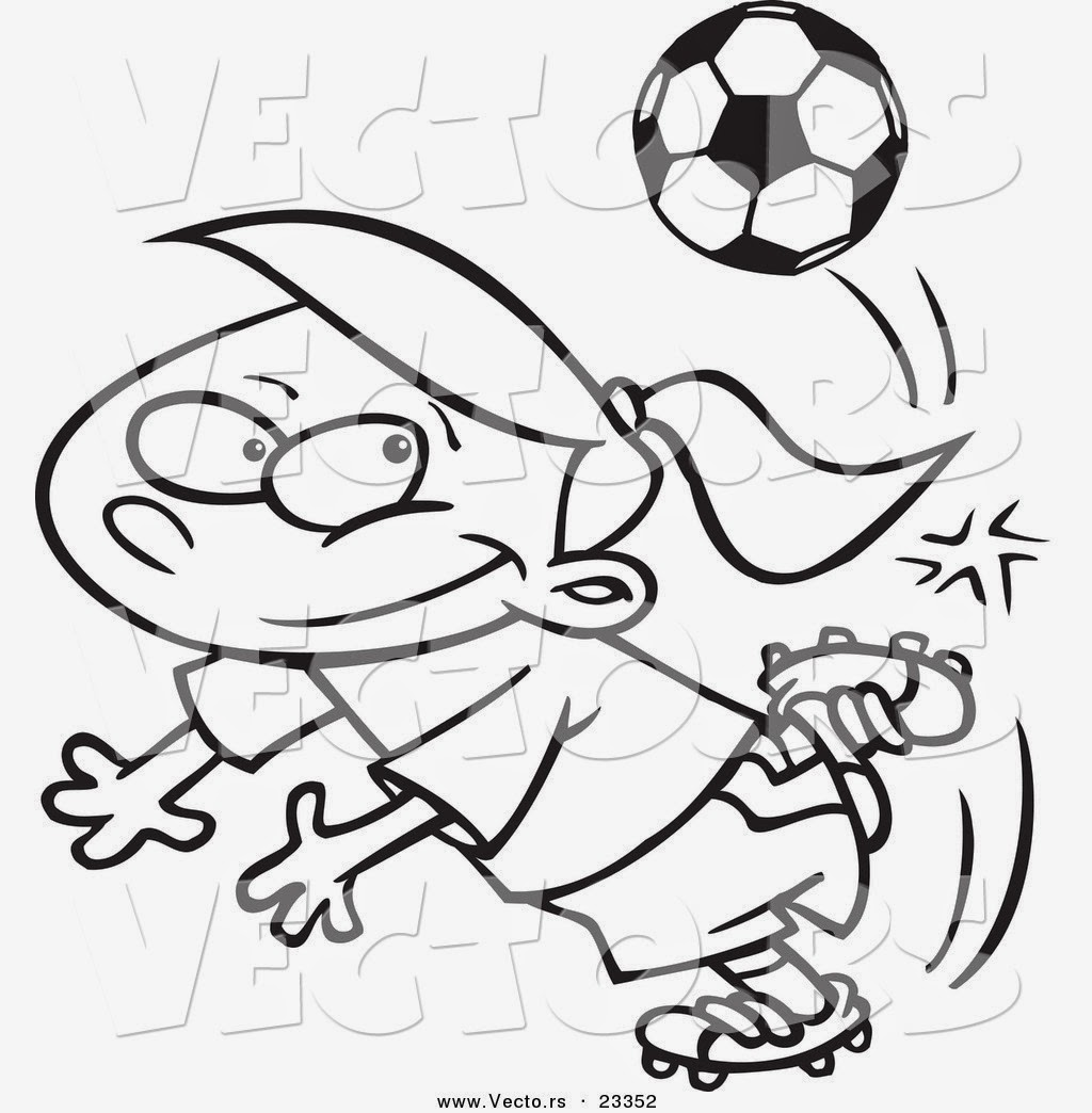 Free printable coloring pages soccer - Soccer Boy With Ball