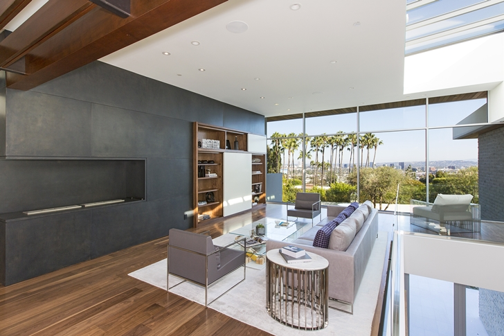 Sitting area in Sunset Plaza Drive modern mansion in Los Angeles