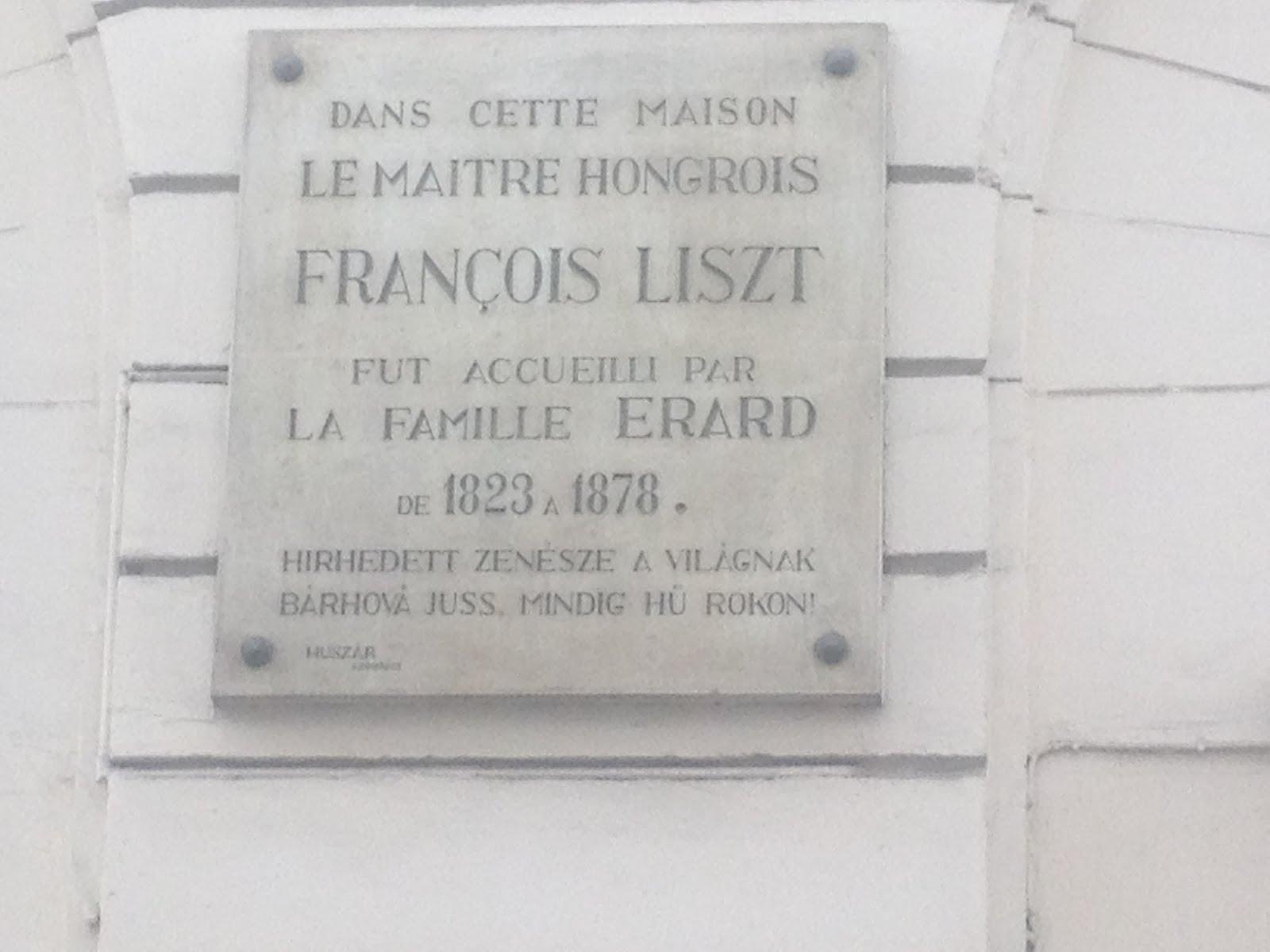 Recuerdo de la visita del Maestro Francois Liszt, a la  Familia Erard