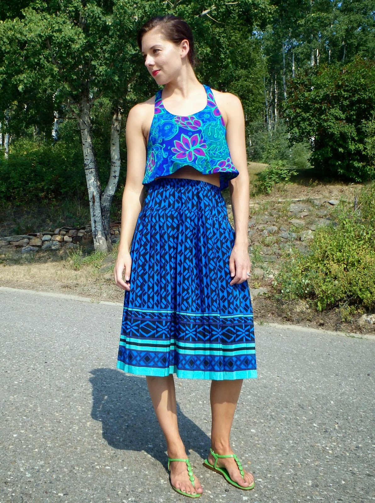 crop top, midi skirt, mixing prints