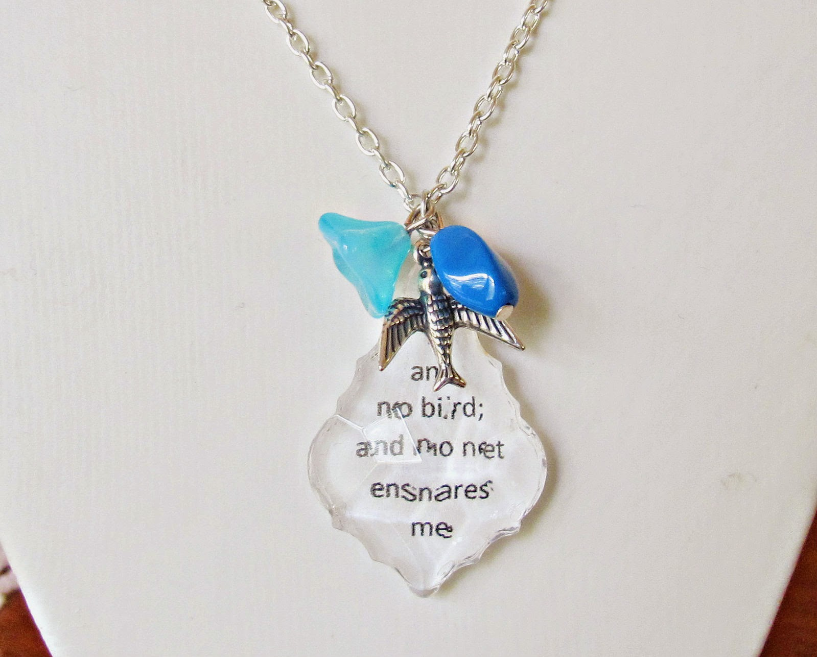 image jane eyre chandelier pendant necklace baroque cut sky blue beads swallow bird i am no bird and no net ensnares me charlotte bronte literature quote silver plated two cheeky monkeys