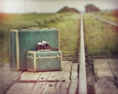 vintage luggage-camera