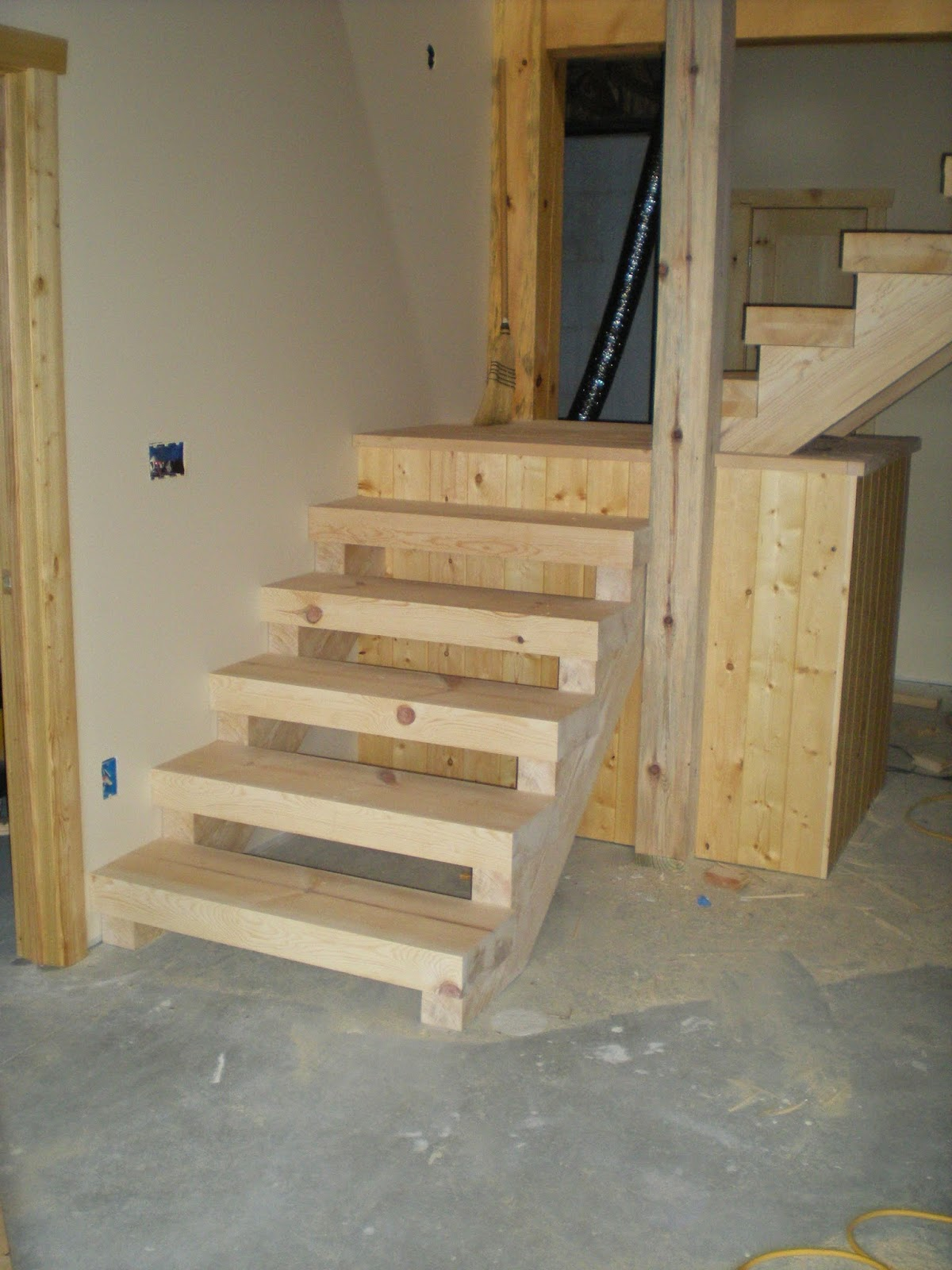 huisman, custom, built, norway, pine, timbers, stairs, ely minnesota