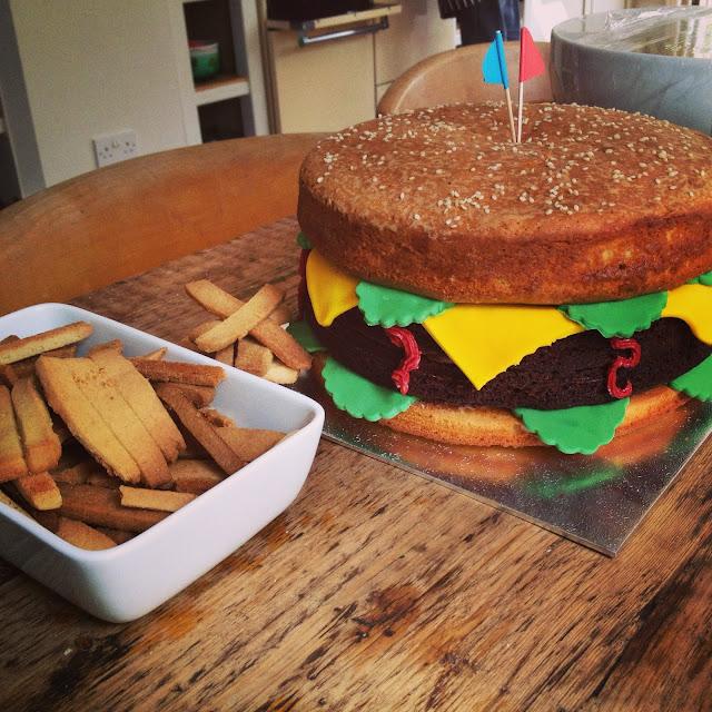 Hamburger Birthday Cake by What Laura did Next