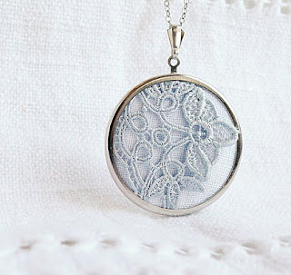 white lace textile necklace