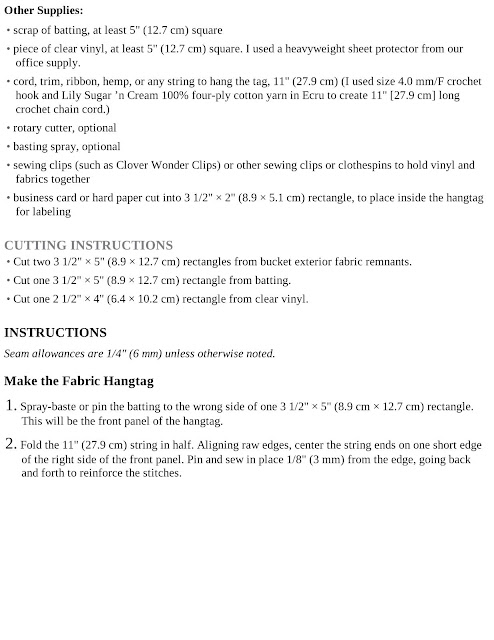 Fabric Bucket With Hangtag