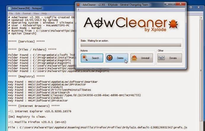 proses menghapus adware dengan ADW cleaner