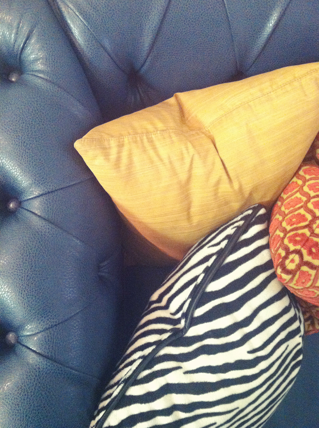 Living Room Makeover - Teal Sofa Detail 