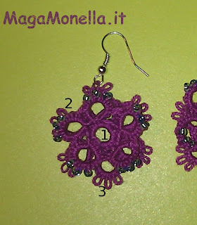 orecchini a chiacchierino - schema gratis - free pattern- tattig earrings