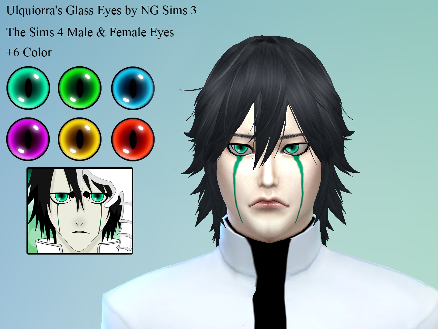 Sims 4 Anime Characters : Ng sims ulquiorra s glass eyes ts