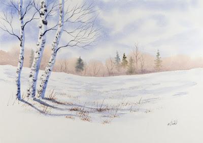 рисуване за деца зимен пейзаж