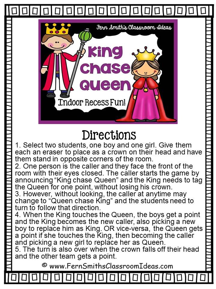 Fern Smith's Classroom Ideas King Chase Queen Game for some Indoor Recess Fun!