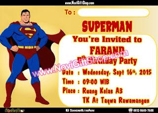 Undangan Superman Tahsin2 Kartu Undangan Ulang Tahun Anak (Invitation Card)