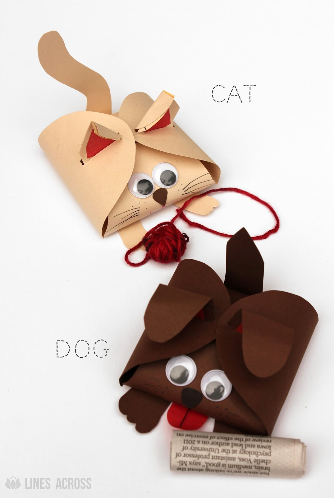 dog and cat paper gift boxes lines across dog and cat paper gift boxes