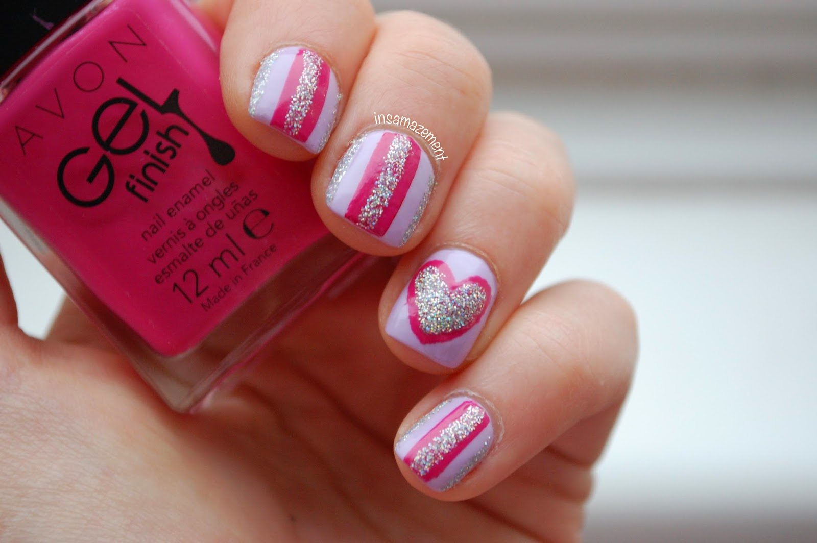 Heart and Stripe Nail Art