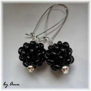 kulki koralikowe kolczyki czarne Twins SuperDuo