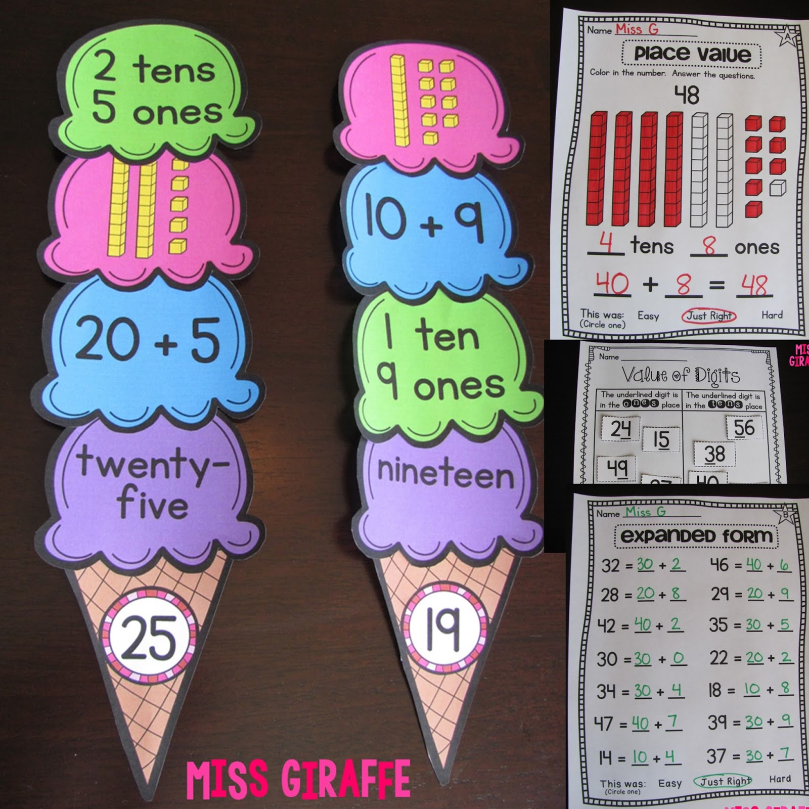 Miss giraffe 39 s class first grade math ideas for the for Craft work for class 3