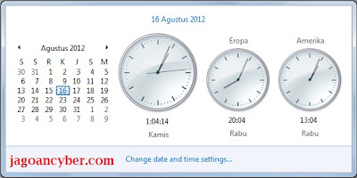 Cara membuat Tiga Zona Waktu di Jam Windows 7