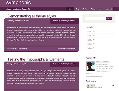 Symphonic Blogger Theme