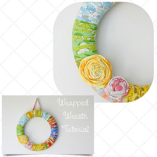 tutorial for vintage fabric handmade wreath from In Colour Order blog