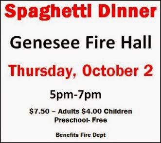 10-2 Spaghetti Dinner, Genesee FD