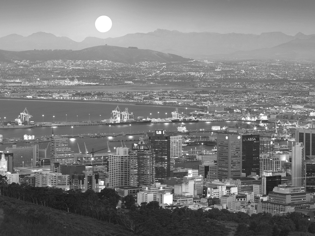Cape Town at sunset Black and white photography