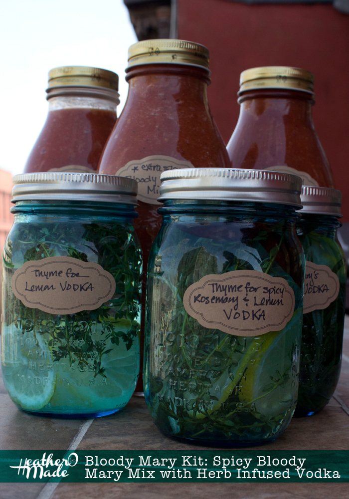 homemade gift: bloody mary kit with Spicy Bloody Mary Mix with Herb Infused Vodka