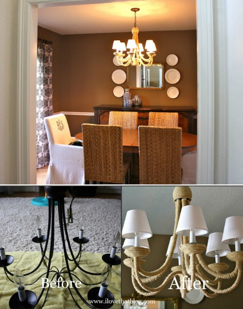 Chandelier Makeover with Rope
