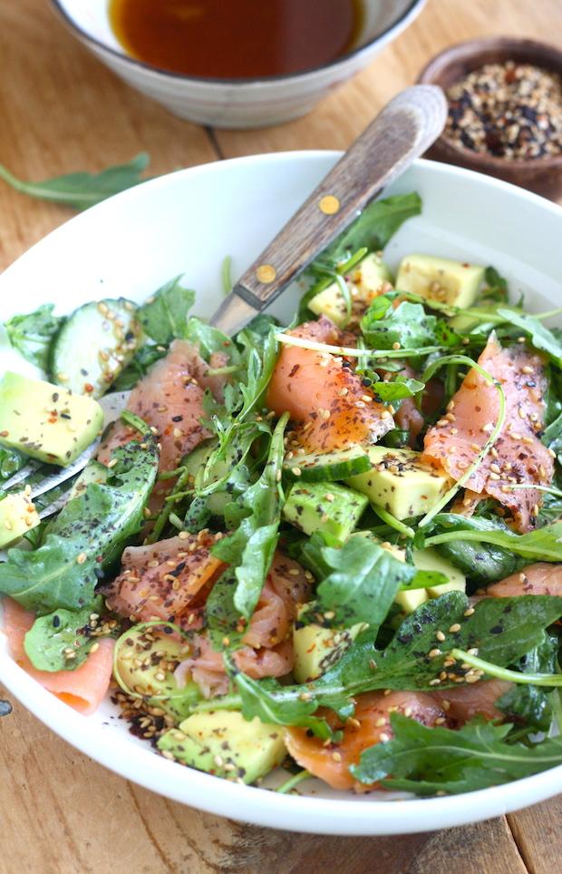 Smoked Salmon Salad with Japanese Ponzu Dressing by SeasonWithSpice.com