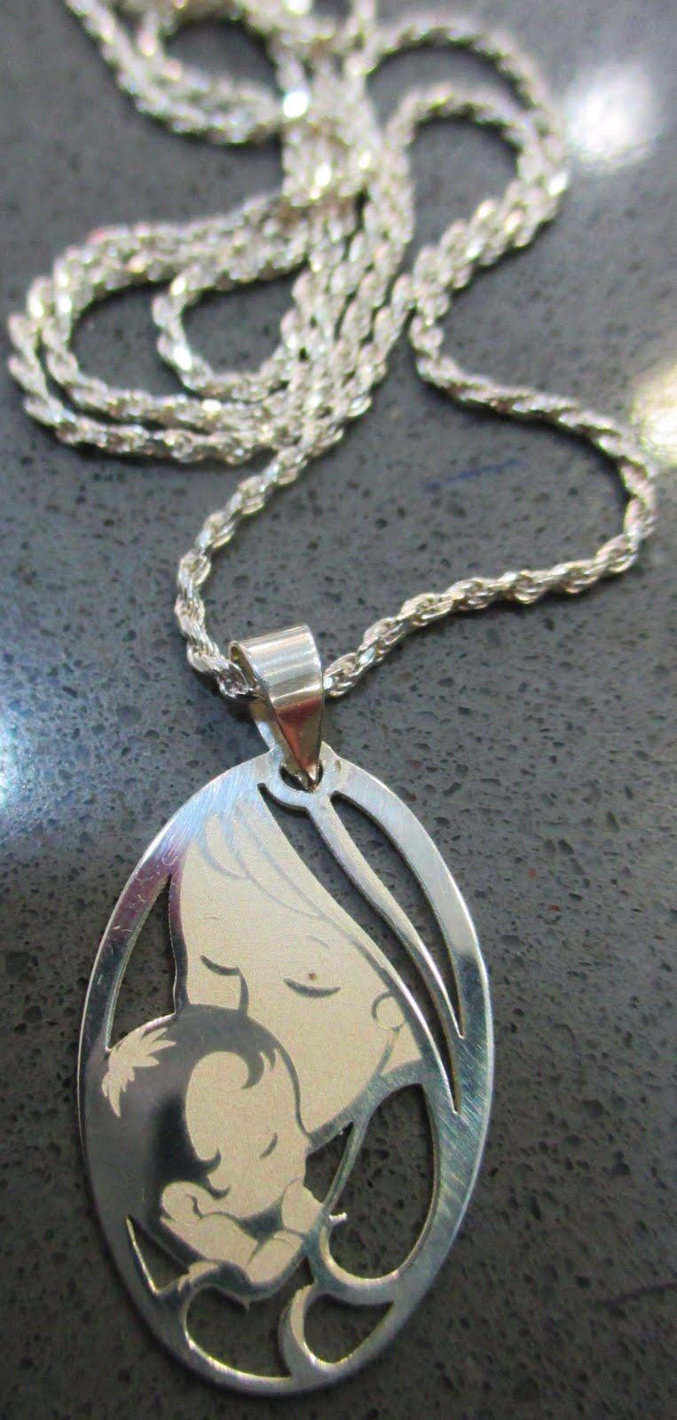 Cadena plata y medalla con Virgen y Niño