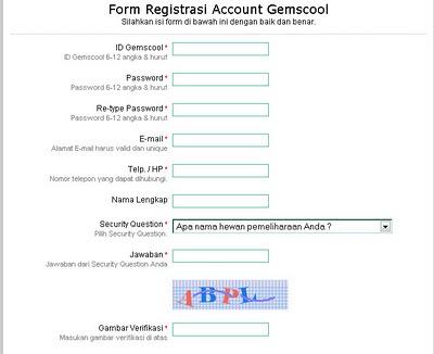 ... pendaftaran /registrasi akun gemscool, silahkan di isi data datanya
