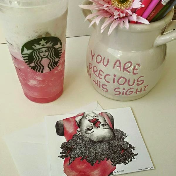 Pretty In Pink true colors collection pink girl 1 notecard, cotton candy starbucks you are precious in his sight jar