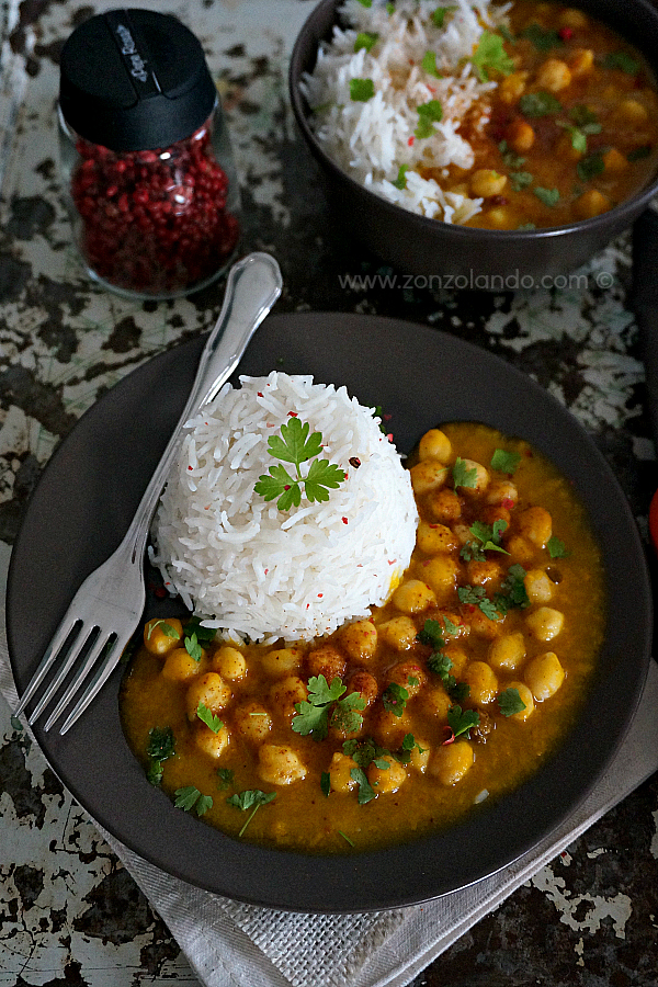 Curry vegano di ceci e zucca ricetta facile e saporita gustosa vegan chickpea curry rice recipe