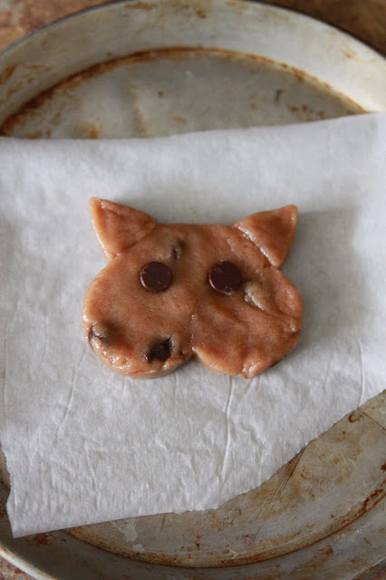 Vegan Chocolate Chip Cat Cookies Before Baking