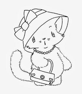 desenho de gata com chapeu e bolsa para pintar