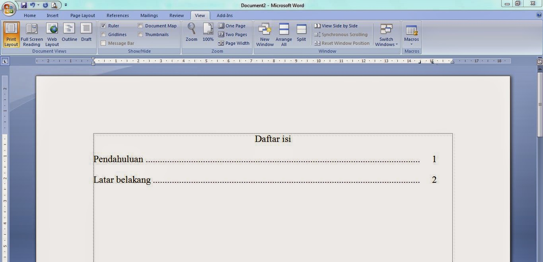 SSH: Cara Membuat Daftar Isi titik-titik di Ms. Word 2007