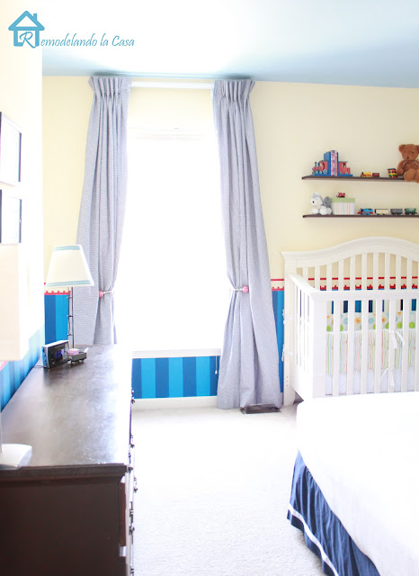 gingham blue curtains in boy room, crib