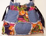 Colorful Bolero Flowers Drawstring Denim Handbag