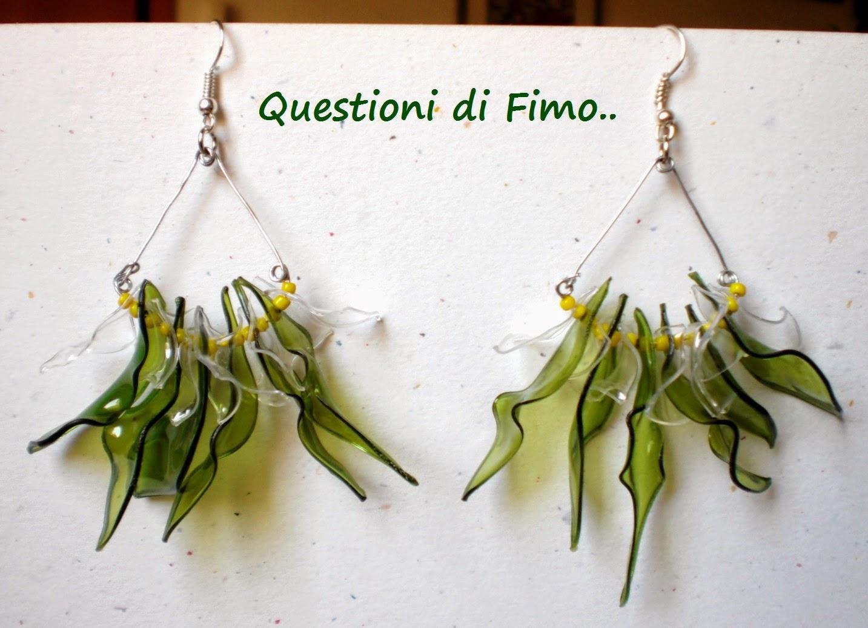 Questioni di fimo e non solo!: orecchini foglie verdi e trasparenze