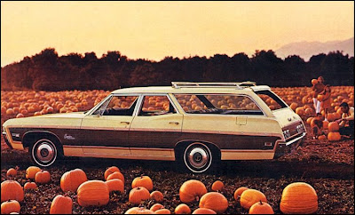 fall, pumpkins, retro, station wagon