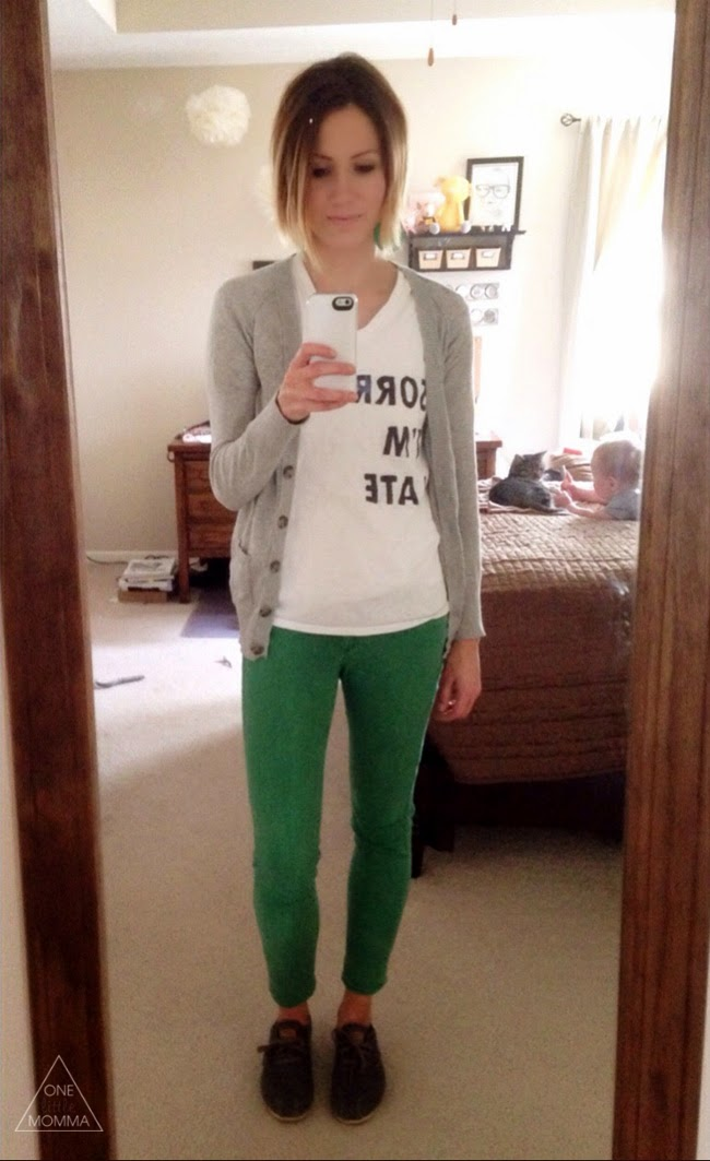 Graphic tee, cardigan, green jeans and TOMS