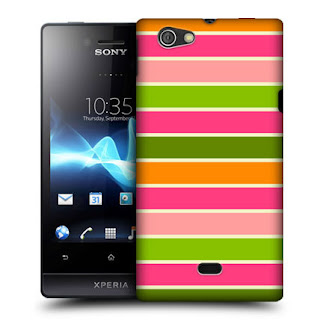 HEAD CASE ORANGE BERRIES STRIPE COLLECTION BACK CASE FOR SONY XPERIA MIRO ST23i
