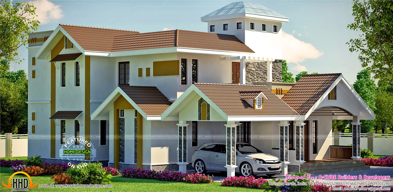 Modern house side view elevation kerala home design and for Building houses with side views