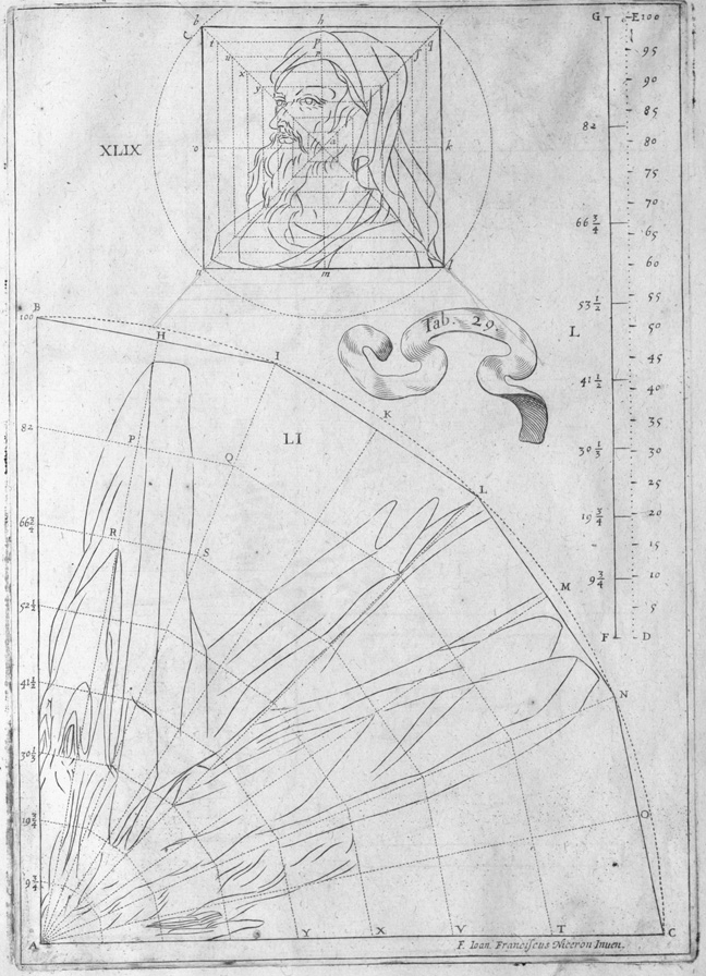 schematic engraved line drawing of anamorphic portrait projection