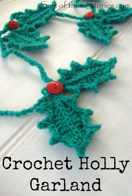 holly leaf garland crochet with link to free pattern