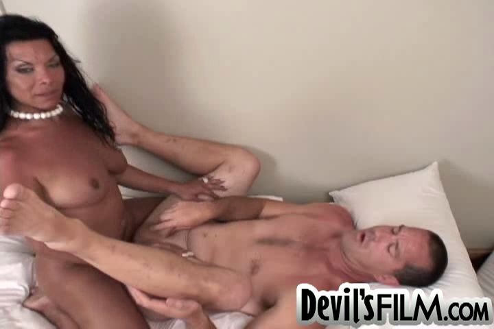 tranny swallows own cum
